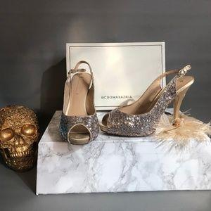 BCBGMazAzria Mariah Gold Sequin Heel